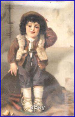 Pair KPM Hand Painted Porcelain Plaques Young Boy & Girl, 19th C