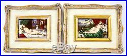 Pair KPM Porcelain Portraits in Gilt Wood & Tapestry Frames c1900 Female Nudes