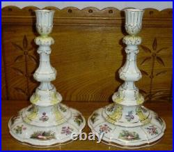Pair Of REPAIRED Antique KPM Porcelain Candlesticks 9 1/2