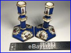 Pair of Antique 19th Century German KPM Hand-Painted Porcelain Candlesticks