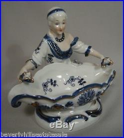Pair of Antique KPM Porcelain Sweet Meat Dishes Man & Woman