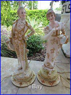 Pair of Antique Porcelain KPM SITZENDORF Table Lamps