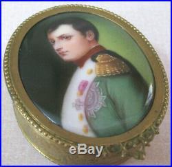 Porcelain Lid Bronze Dore Jewelry Box, KPM, Napolean, Museum Quality