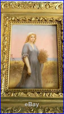 Porcelain antique KPM style plaque of Ruth in gilt frame signed ca 1893