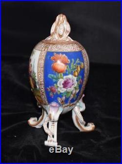 RARE KPM Porcelain 3 Legged Egg Shaped Tea Caddy or Urn with Cover Handpainted-A