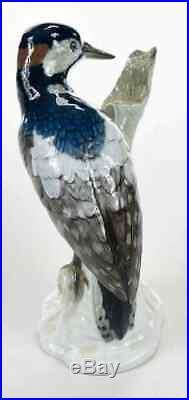 Rare Antique KPM Berlin Porcelain Bird Woodpecker Model Figurine