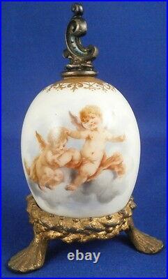 Rare Antique KPM Berlin Porcelain Scenic Perfume Egg Bottle Porzellan Perfuem Ei