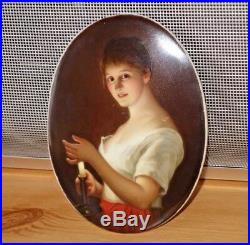 Rare Antique KPM Porcelain Finely Hand Painted Oval Plaque Lady Holding Candle
