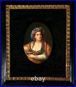Rare Antique KPM Portait Porcelain Plaque Of Woman In Turbin