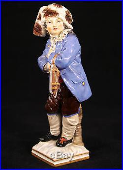 Rare Antique Kpm Berlin Germany Porcelain Figurine Of A Boy With Skates