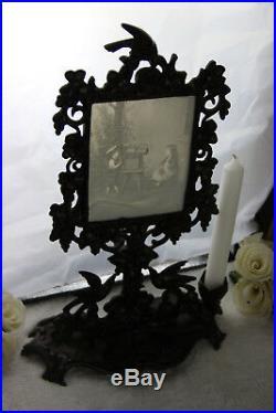 Rare Antique Porcelain Lithophane in empire Cast iron stand bird candle 1920's