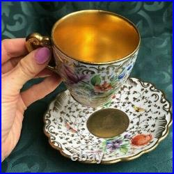 Rare Color 19th Century Fine Hand Painted KPM Porcelain Demitasse Cup and Saucer