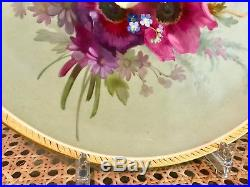 Rare Hand Painted Antique KPM Gilded Porcelain Charger Flowers & Butterfly