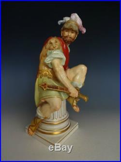 Rare Pair Antique KPM Berlin Roman Soldier And Lady Warrior Porcelain Figurine