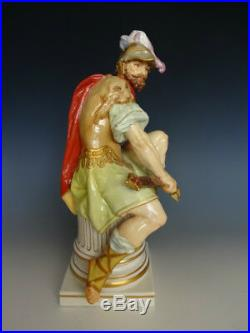 Rare Pair Antique KPM Berlin Roman Soldier And Lady Warrior Porcelain Figurines