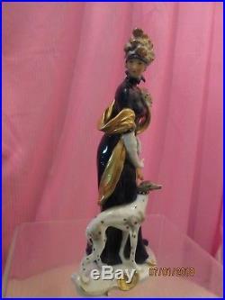 SALE-KPM Vtg porcelain continental lady figurine cobalt withgold & whippet dog