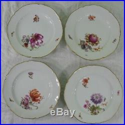 Set 4 Antique Porcelain KPM Plates 9 1/2 inch Hand Painted Floral Flowers German