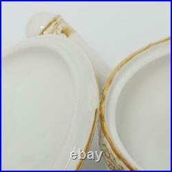 Set Of Four (4) Antique Kpm Germany Gilt Porcelain Lidded Ramekins
