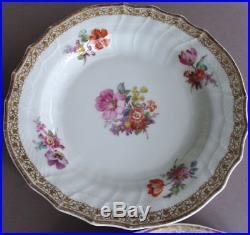 Set of 6 Antique c1900 KPM HandPainted Porcelain 7 Bowls FLOWERS w Gilt Trim