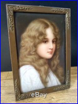 Sign. WAGNER Hutschenreuther KPM porcelain plaque Herbst 107 6 by 4