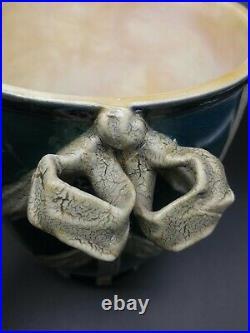 Signed Antique KPM Germany Lidded Porcelain Urn Green & White Jar with Bows