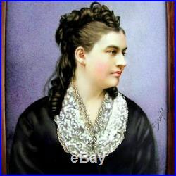 Signed Antique Victorian Hand Painted Porcelain Portrait Plaque Lady KPM Quality