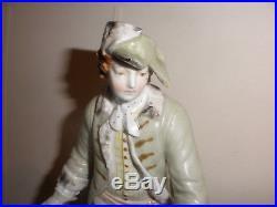 Signed Antique porcelain KPM men man holding a basket large 9 figure figurine
