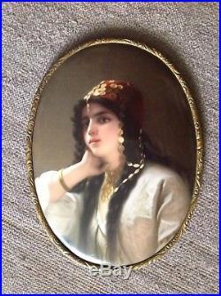 Signed KPM Antique Porcelain Plaque 9 x 7 Finely Painted Beautiful Lady c. 1900