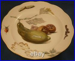 Six Antique KPM Berlin Porcelain Veggie Scene Plate Set Porzellan Teller Scenic