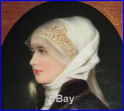 Small Antique Porcelain Portrait Plaque Young Maiden Poss. KPM