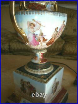 Stunning 19th C Sevres Kpm Porcelain Hand Painted Cherubs Table Lamp Silk Shade