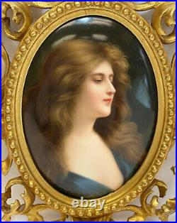 Stunning KPM Hand Painted Porcelain Plaque of a Beauty, 19th Century