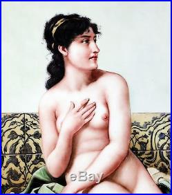 Stunning1800 Original Stamped KPM Enamel Painting Porcelain Plaque with Nude Lady