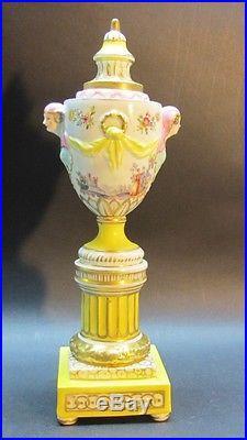 Superb Signed Mid-19th C. KPM Hand-Painted Porcelain Urn/Candle Holder antique