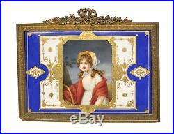 Unique KPM Hand Painted Porcelain Plaque of a Beauty, 19th Century