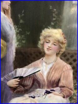 Very Large Antique KPM Style Porcelain Plaque Hand Painted Signed WINGEBACH