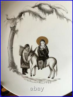 Very rare antique KPM Royal Berlin porcelain plate handpainting Bible story