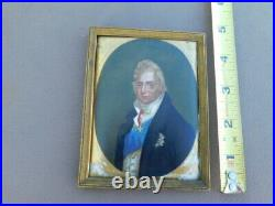 Vintage Antique 18th c Military Painted Portrait Porcelain Tile KPM Franch