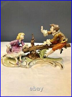 Vintage Dresden KPM German Porcelain Boy and Girl on Seesaw With Ruffles & Lace