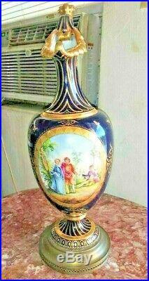 Vintage Huge KPM Porcelain and Brass Pitcher