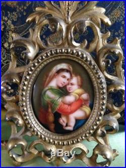 Vintage Hutschenreuther Kpm Porcelain Painted Plaque Madonna Della Sedia Framed