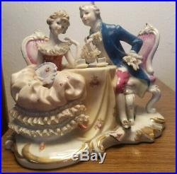 Vintage KPM Germany Lace Porcelain Figurine of Couple Having Tea