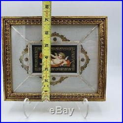 Vintage Pair of Hand Painted Framed Porcelain Plaques with Cherubs KPM Quality