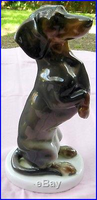 Vtg. Kpm Scepter & Other Marks German Begging Dachshund Dog Figurine Gorgeous