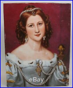 Vtg RPM Kpm Germany Fine Porcelain Portrait Plaque Tile Of Charlotte Von Owen