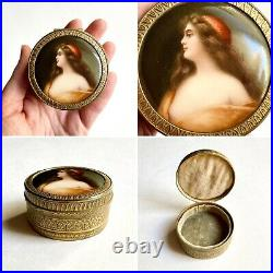 Wagner Gypsy Painted Porcelain Plaque Box, Likely KPM or Hutschenreuther AS IS
