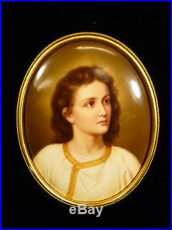 Wonderful Signed 19th Cent. Kpm Berlin Porcelain Portrait Plaque Of Young Jesus